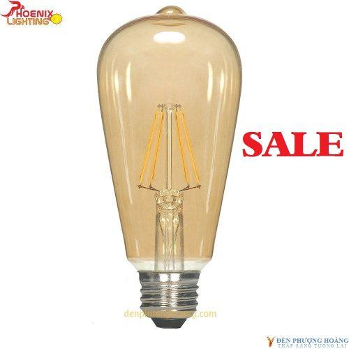 Bóng đèn led edison T64 dimmer vỏ vàng