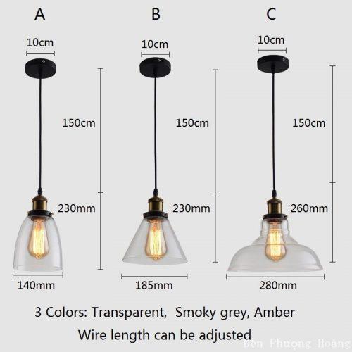 Đèn thả chao kính giá rẻ