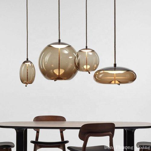 Đèn thả chao kính trang trí bàn ăn