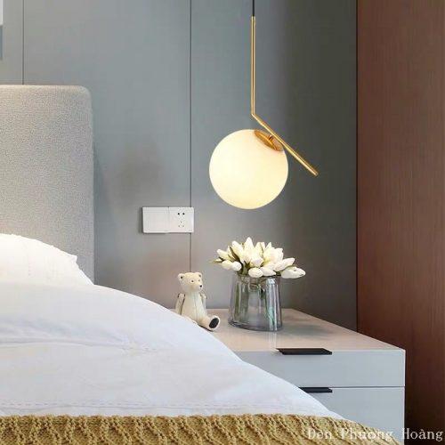 đèn thả thủy tinh hình cầutrang trí phòng ngủ