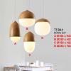Đèn thả bàn ăn đuôi gỗ chao thủy tinh