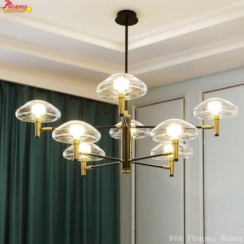 Đèn thả căn hộ chùm 8 bóng thủy tinh hình nấm