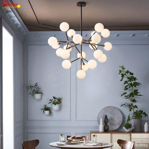 Đèn thả chùm bóng thủy tinh đục trang trí phòng khách
