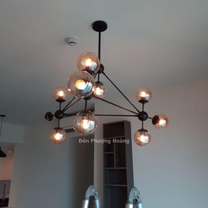 Đèn thả trang trí căn hộ phòng khách đẹp