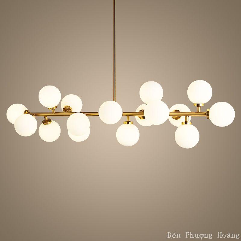 Đèn thả trang trí căn hộ si vàng sang trọng 16 bóng