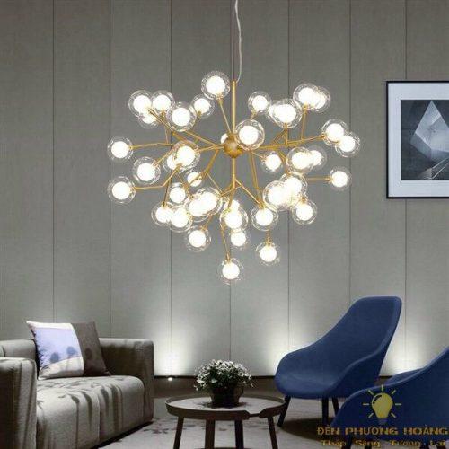 Đèn thả chùm bóng trang trí phòng khách căn hộ chung cư