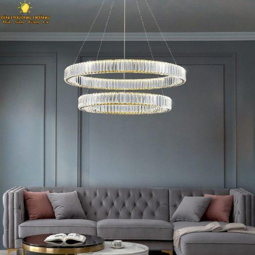 Đèn thả pha lê cao cấp trang trí phòng khách ba chế độ sáng cực đẹp