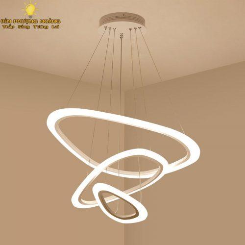 Đèn thả trang trí ba vòng led thiết kế phong cách mới lạ