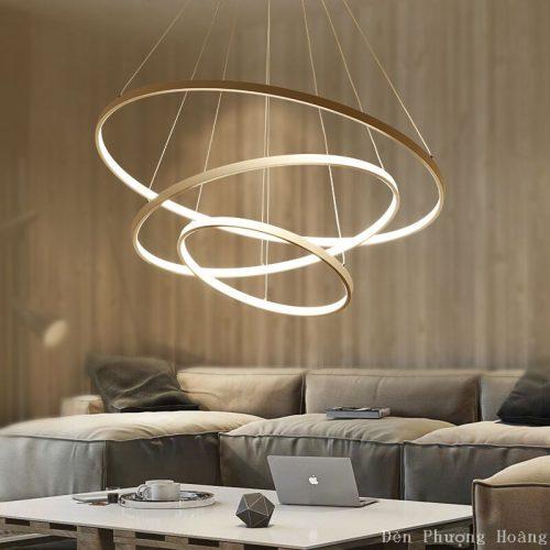 Đèn thả vòng tròn led trang trí phòng khách đẹp