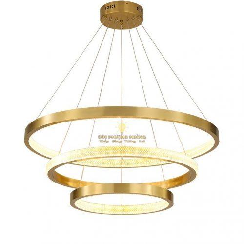 Mẫu đèn thả led ba vòng thân inox xi vàng cao cấp